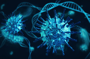 Ominous blue coronavirus cells intertwined with DNA and white blood cells on dark